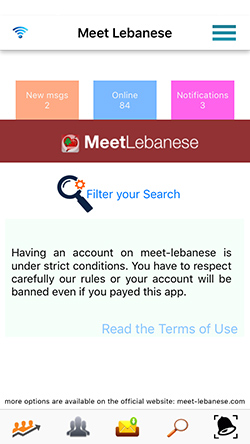 Here you are in the Meet Lebanese Homepage - To begin Click on Filter your search